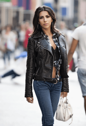 jeans with leather jacket